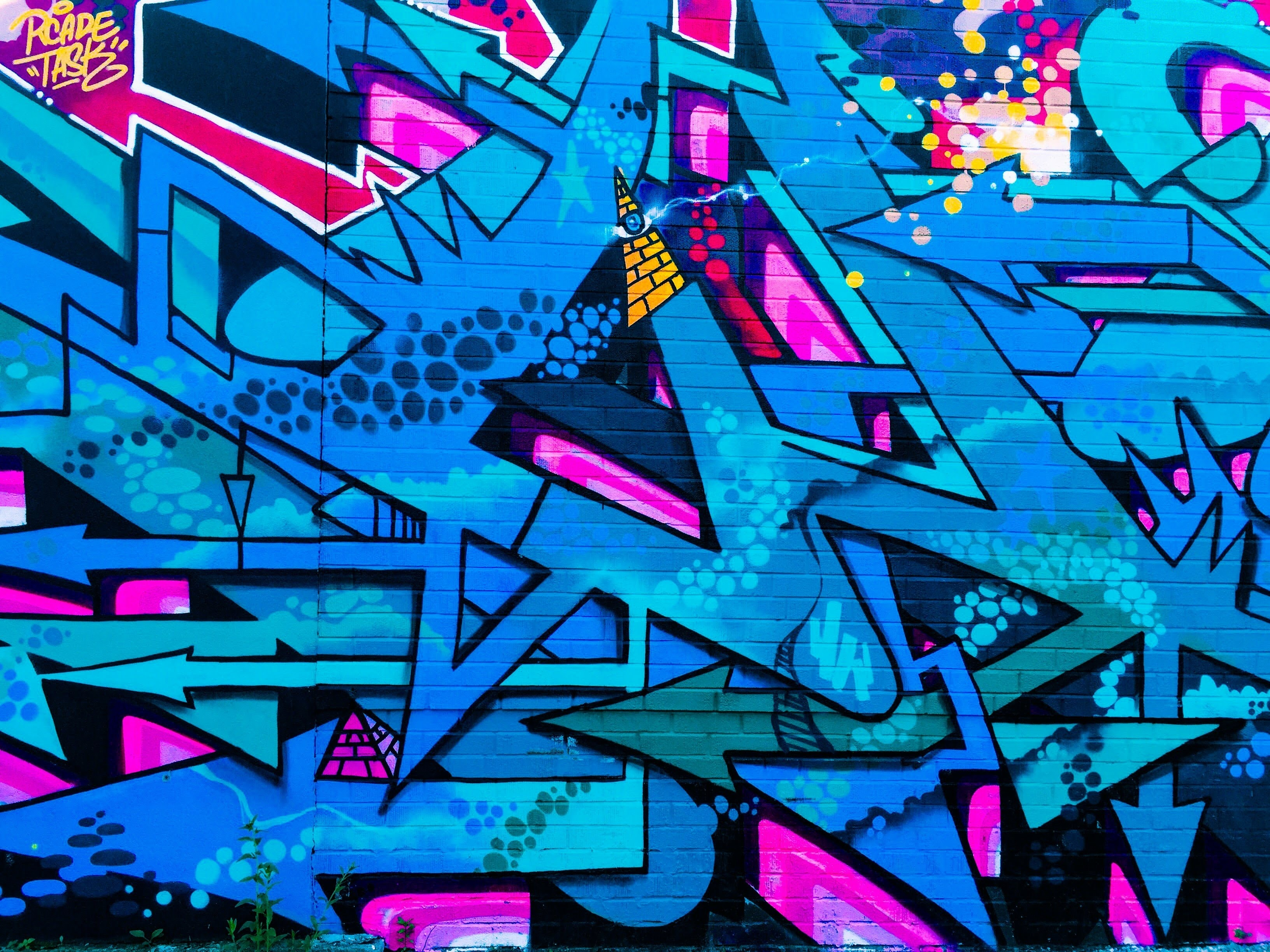 blue, pink, and black abstract painting