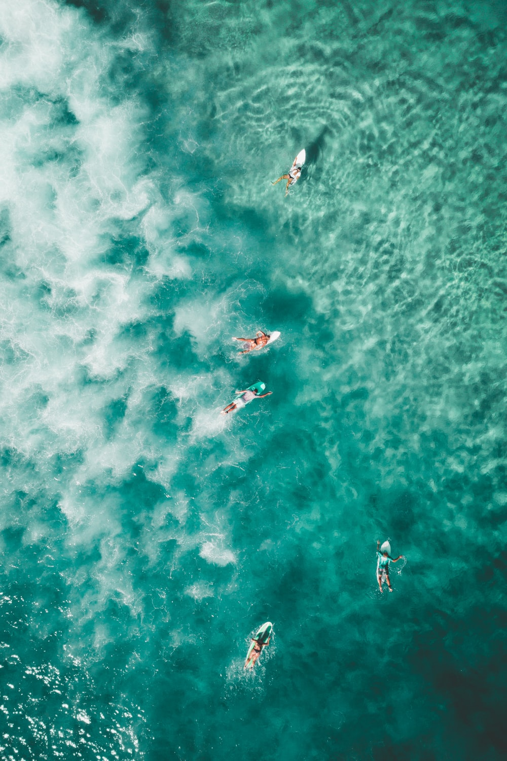 bird's eye photography of people surfing