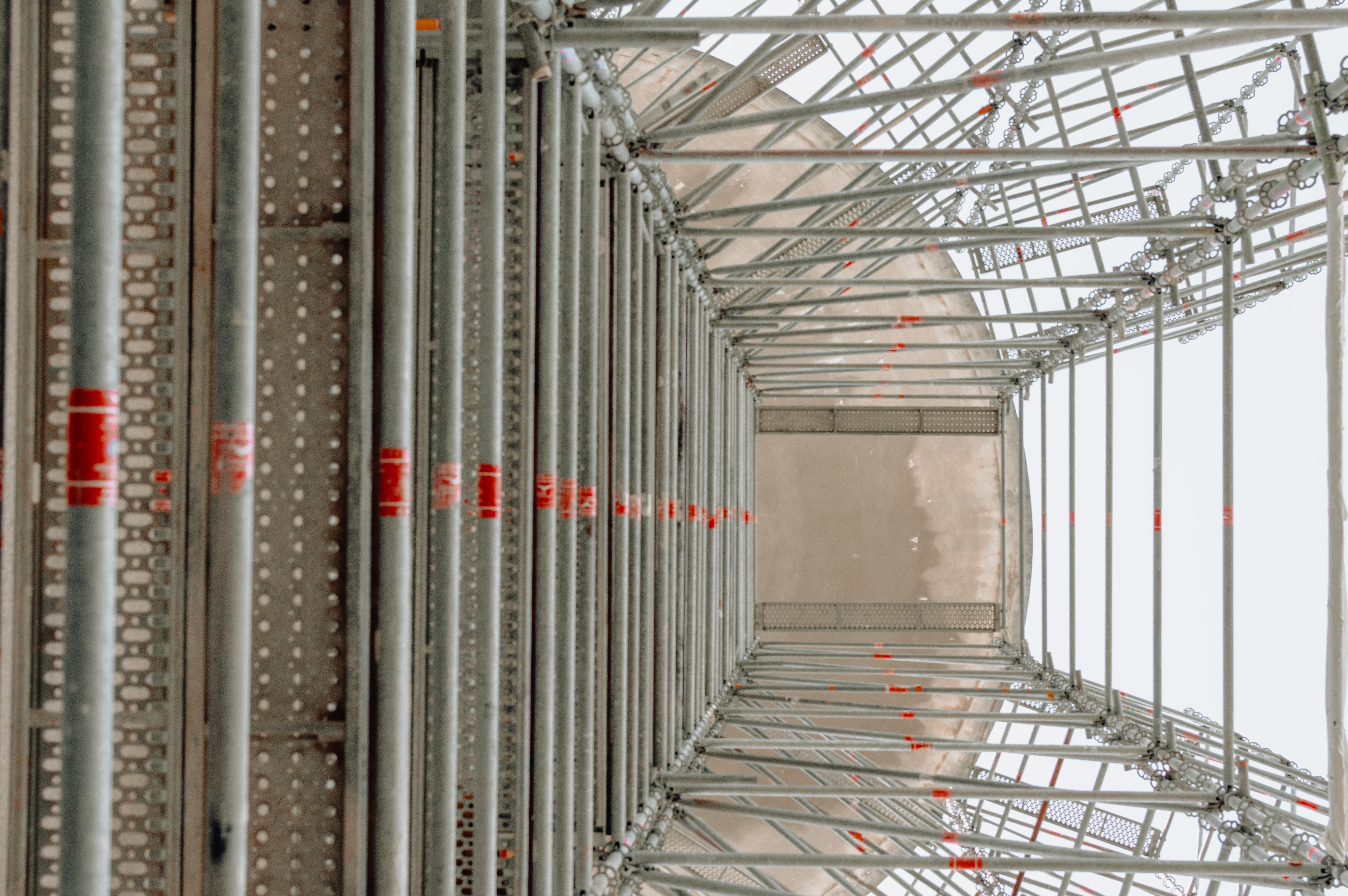 grey metal scaffolding frame