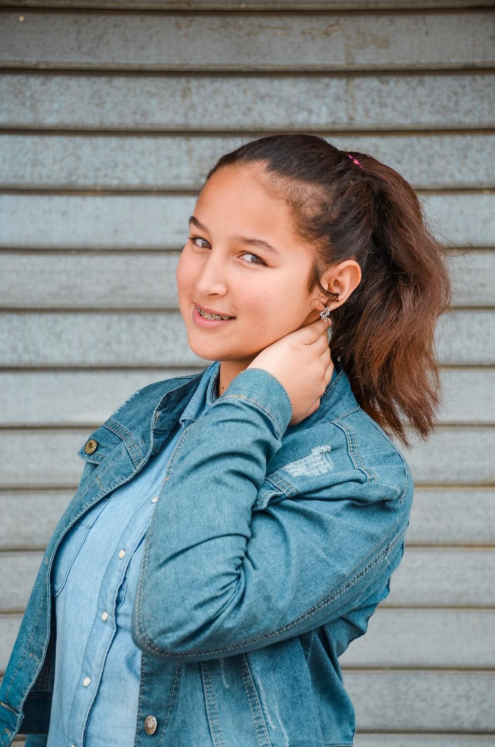 girl wearing blue denim jeans