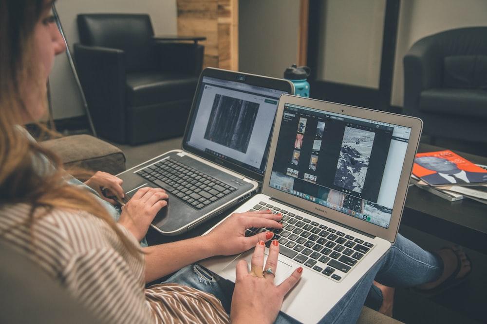 woman using MacBook Air