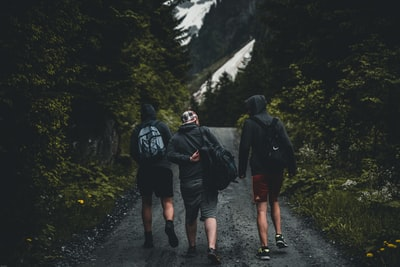 three person walking on gray pathway