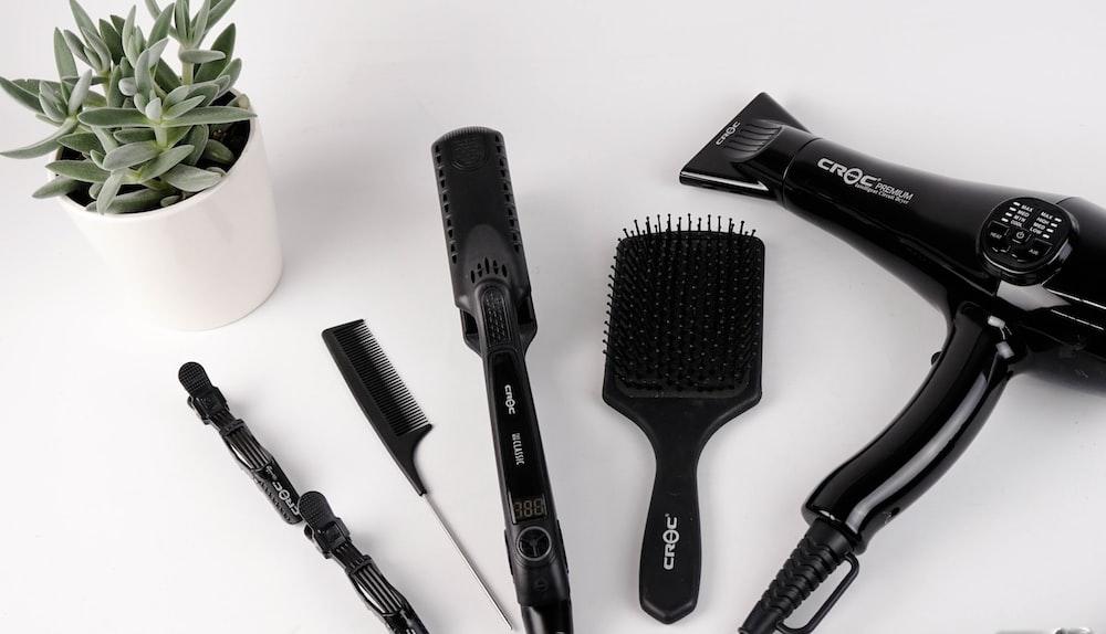 black hair brush