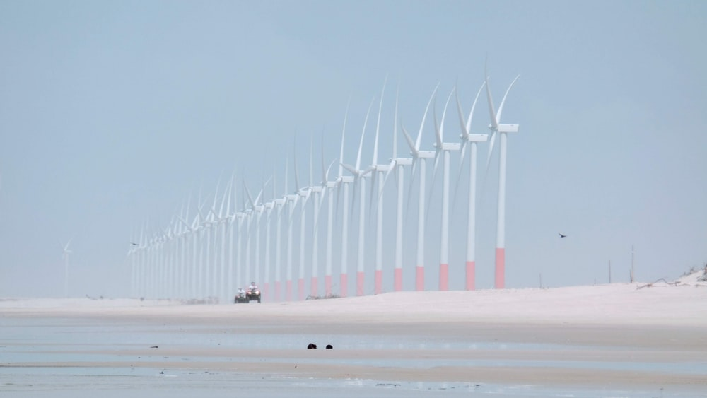 landscape photography of wind mills