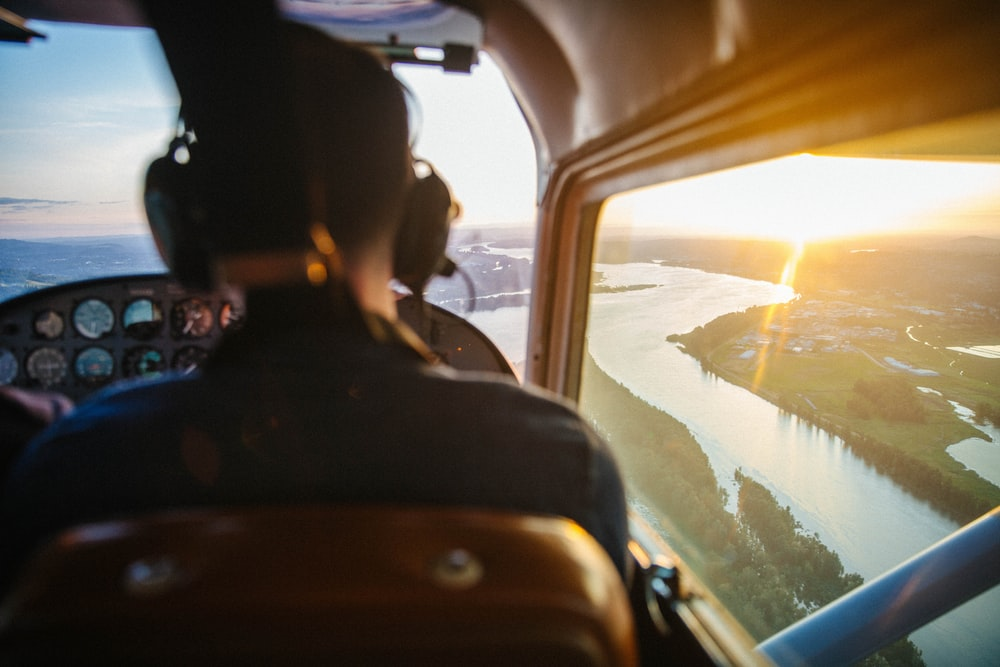 view of helicopter cockpit on top of river