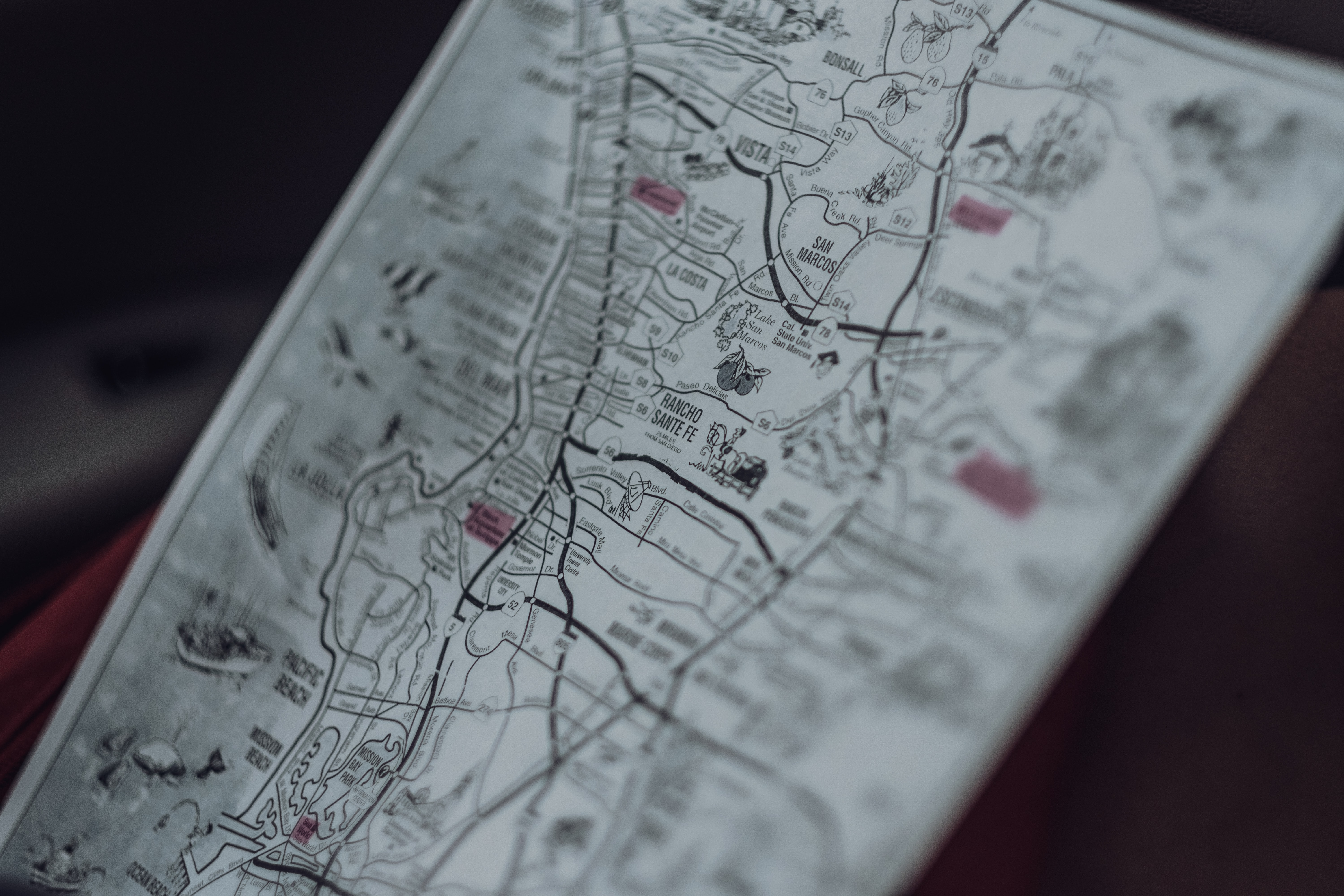 selective focus photo of map