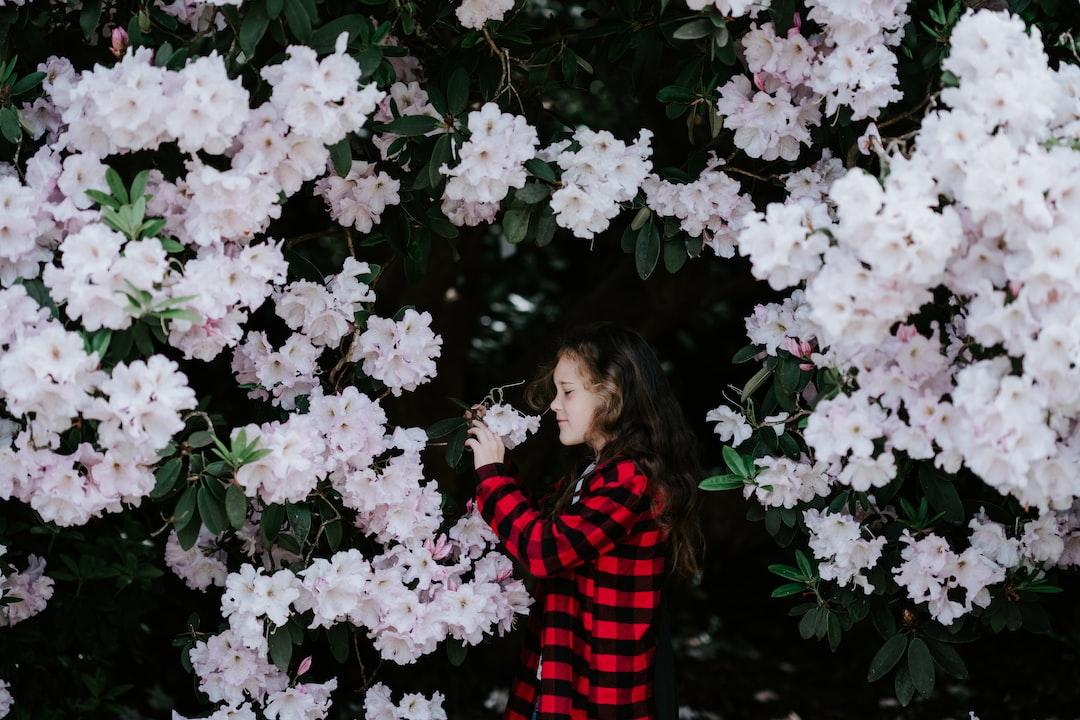 Girl smelling flowers
