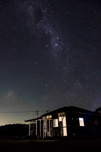 wooden house under starry sky
