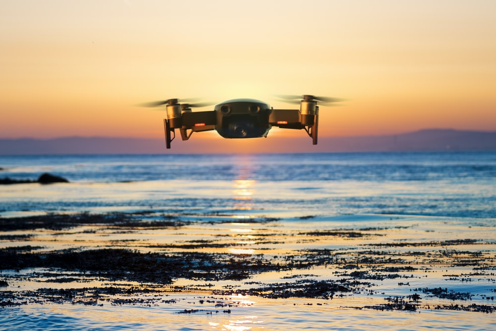 flying quadcopter drone