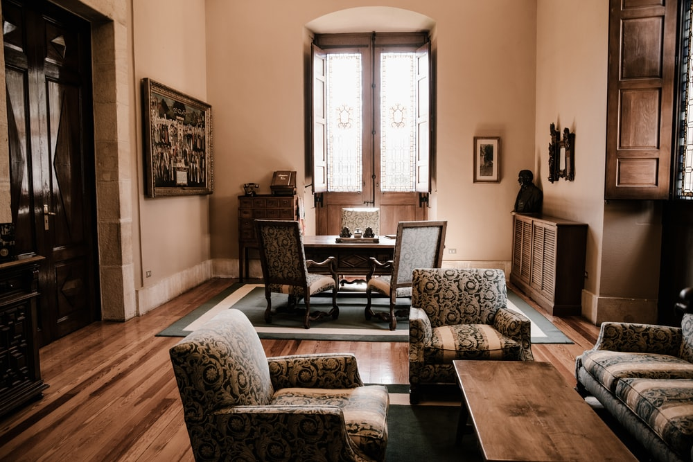 brown fabric sofa chair