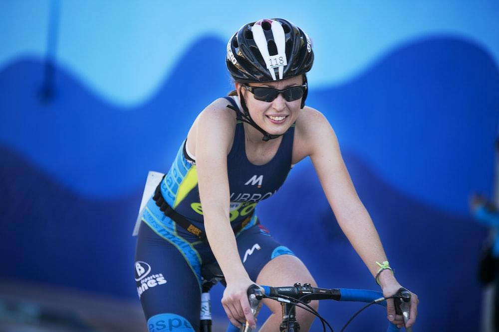 woman rides on mountain bike