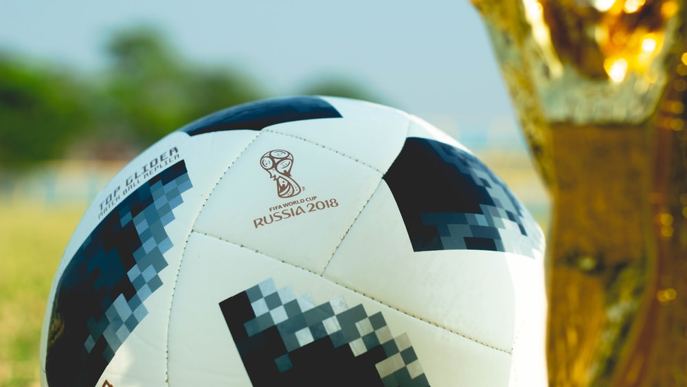 Russia 2018 print on soccer ball