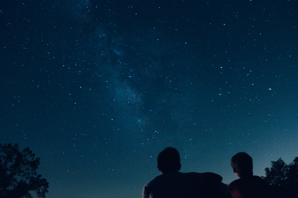 silhouette photo of two person watching stars