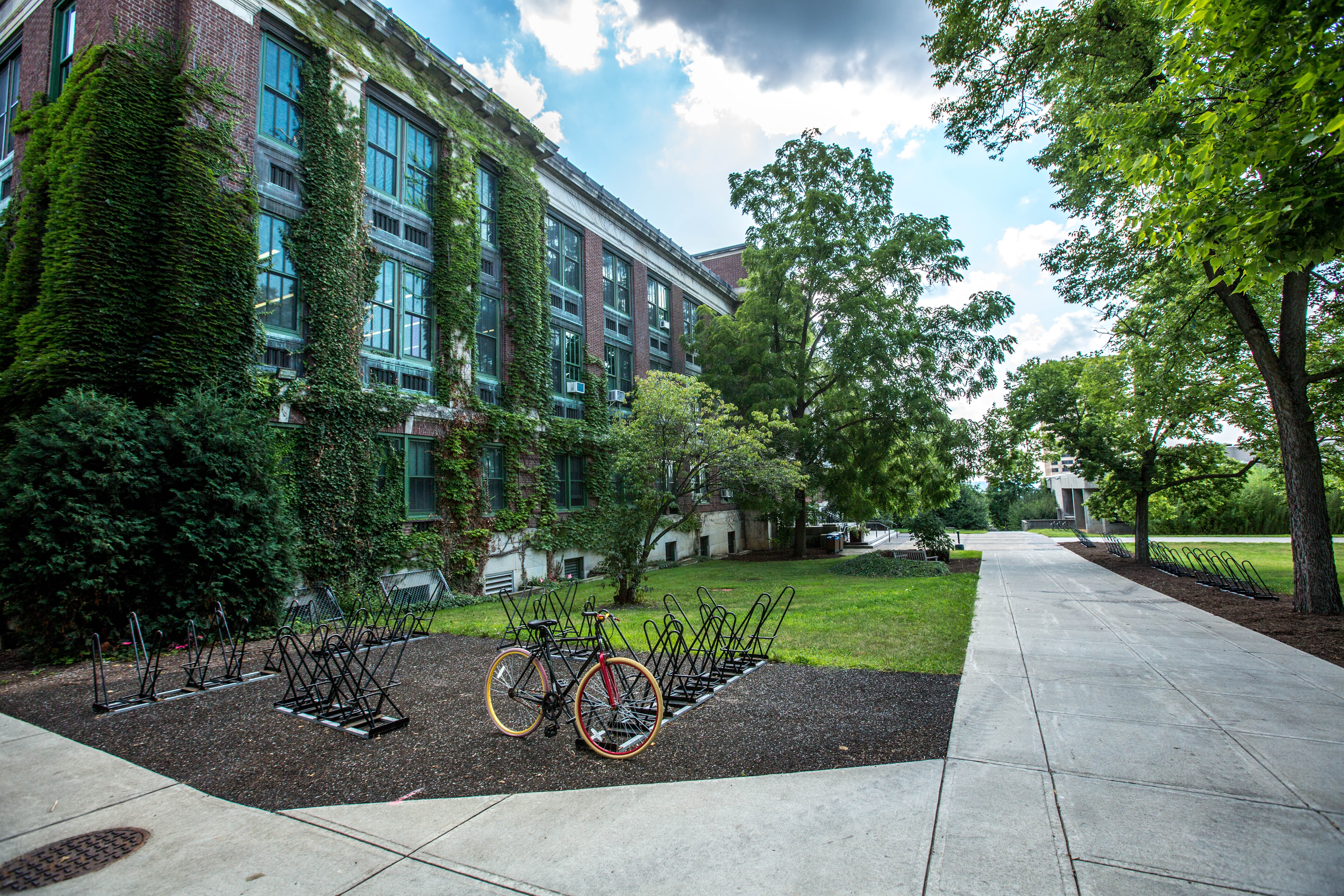 black bicycle parked in front of building