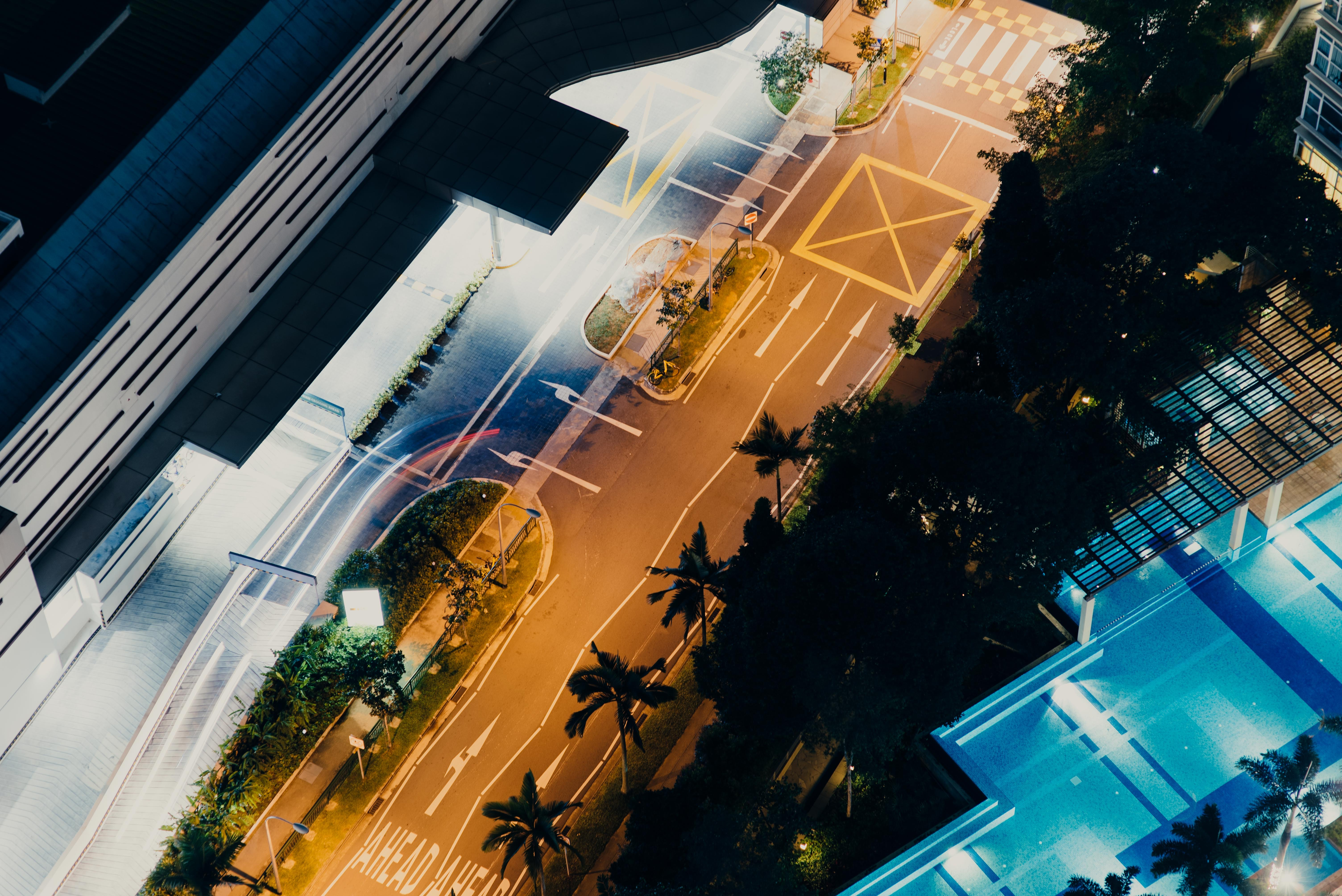 aerial photography of road and buildings