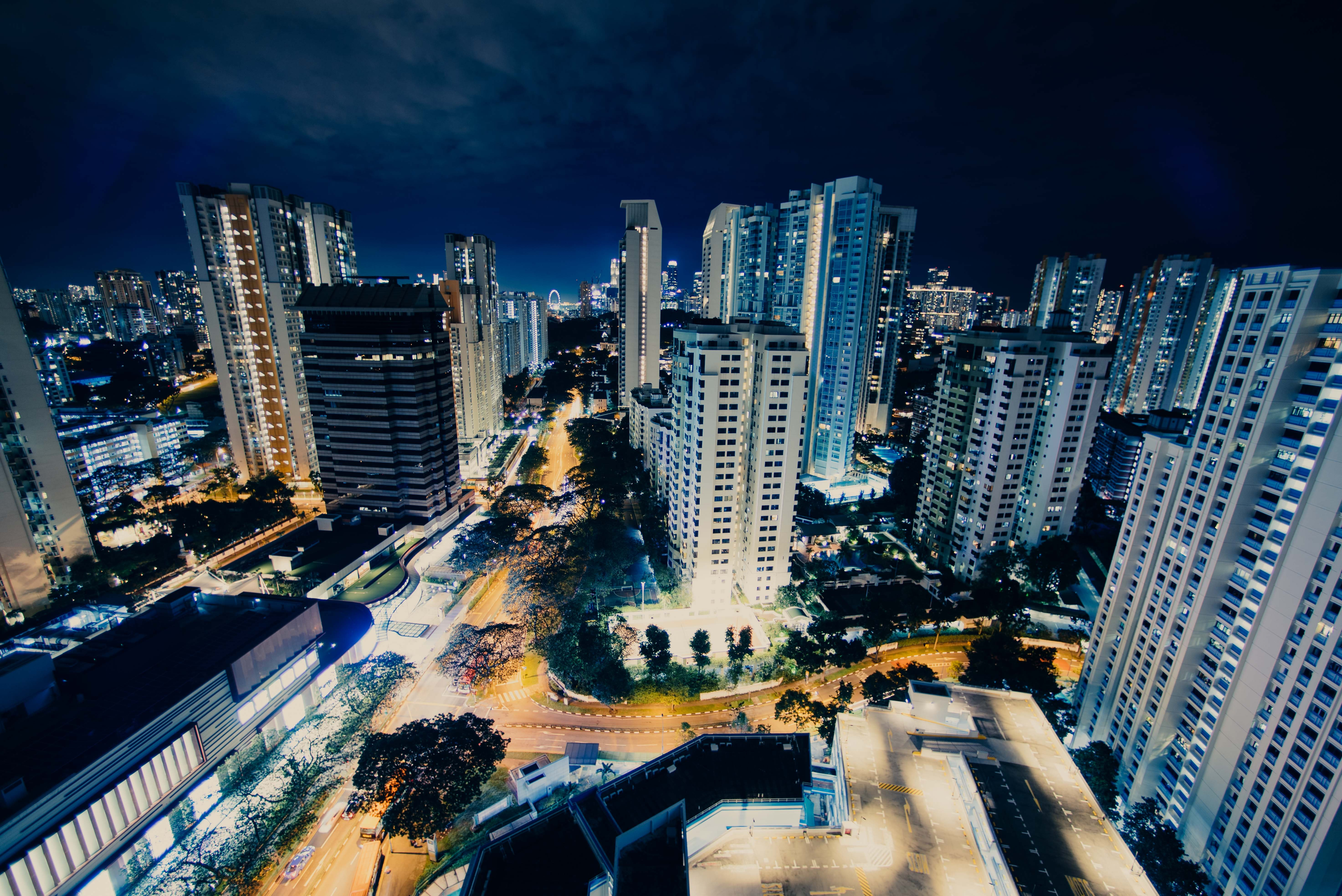 aerial photography of high-rise buildings at nighttime