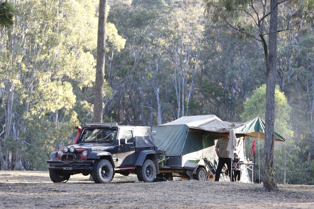 black SUV with pop-up camper surrounded by forest