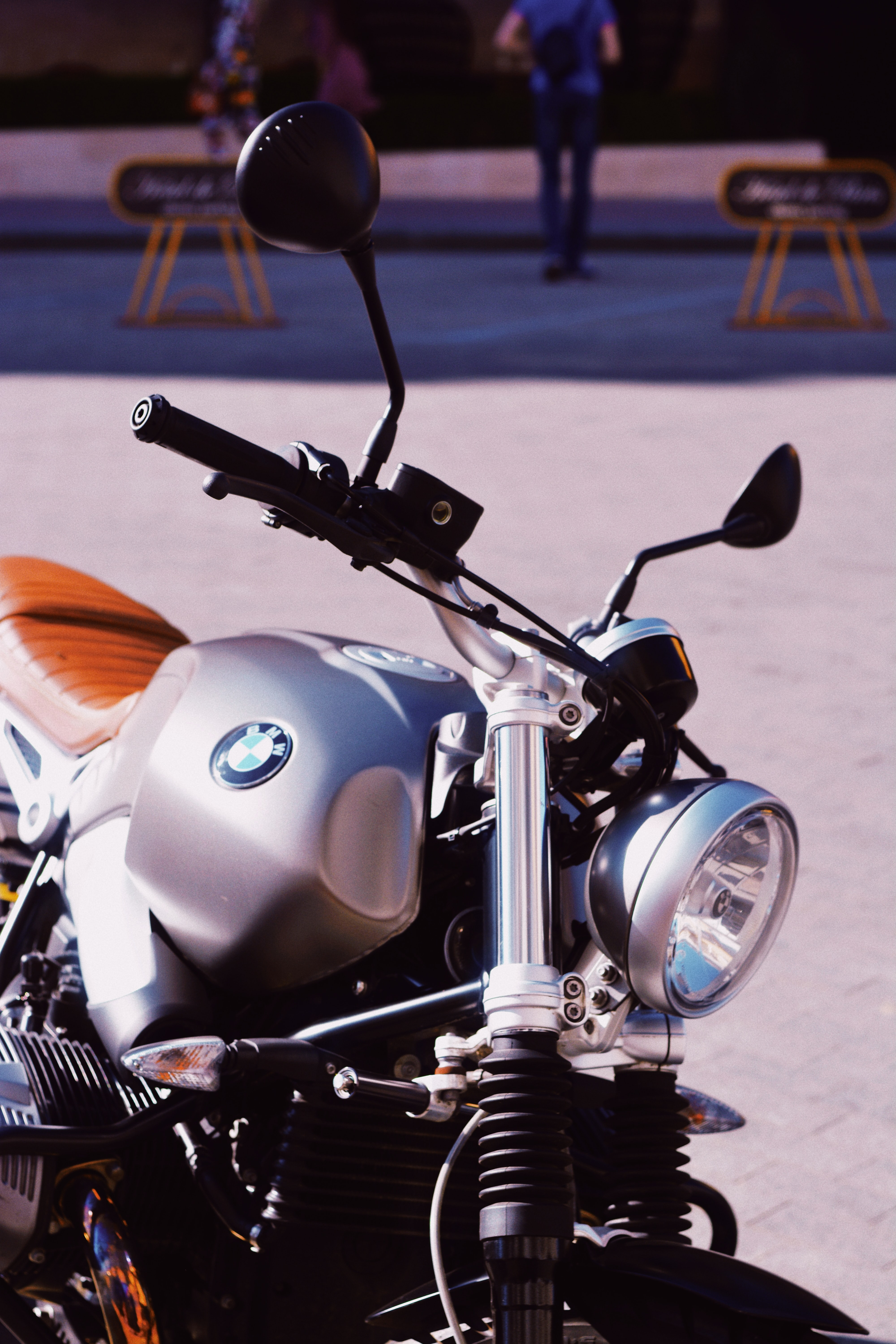 silver BMW standard motorcycle