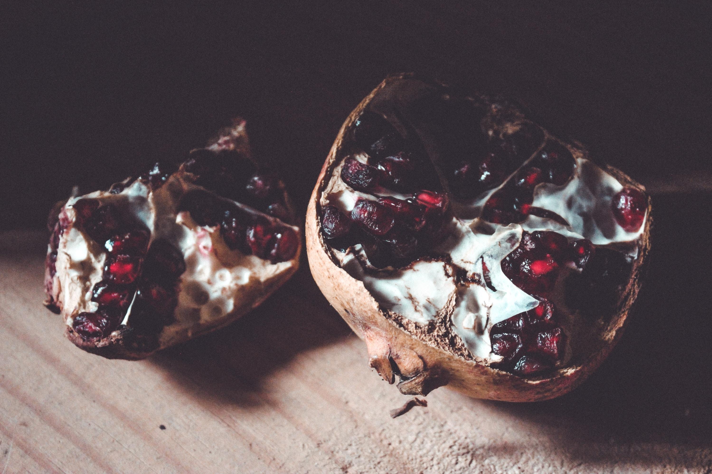 sliced brown pomegranate