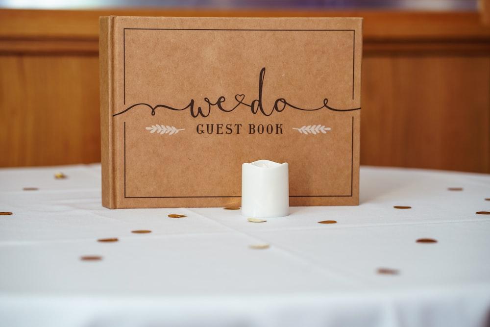 brown Weedo guestbook on table