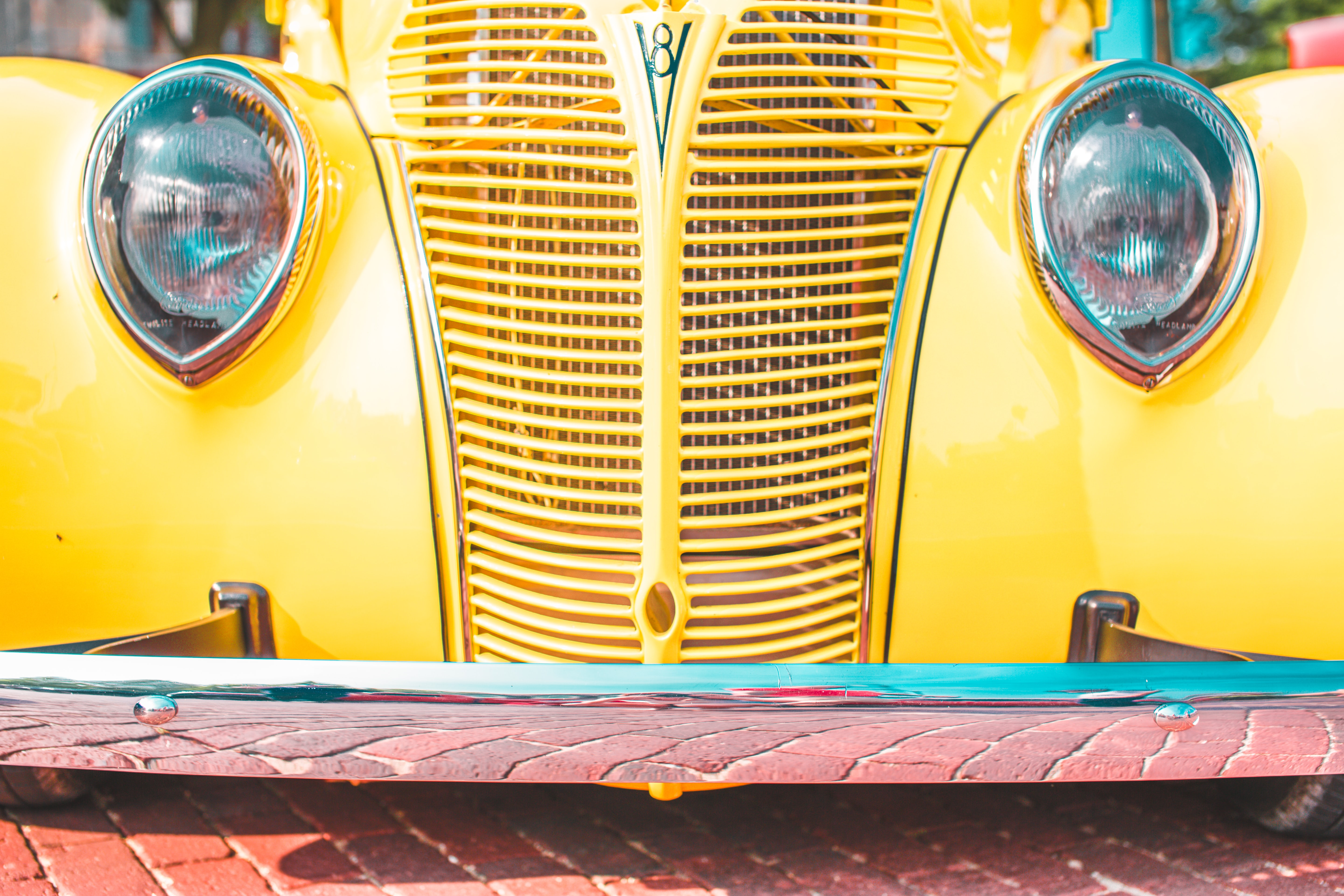 classic yellow and teal vehicle