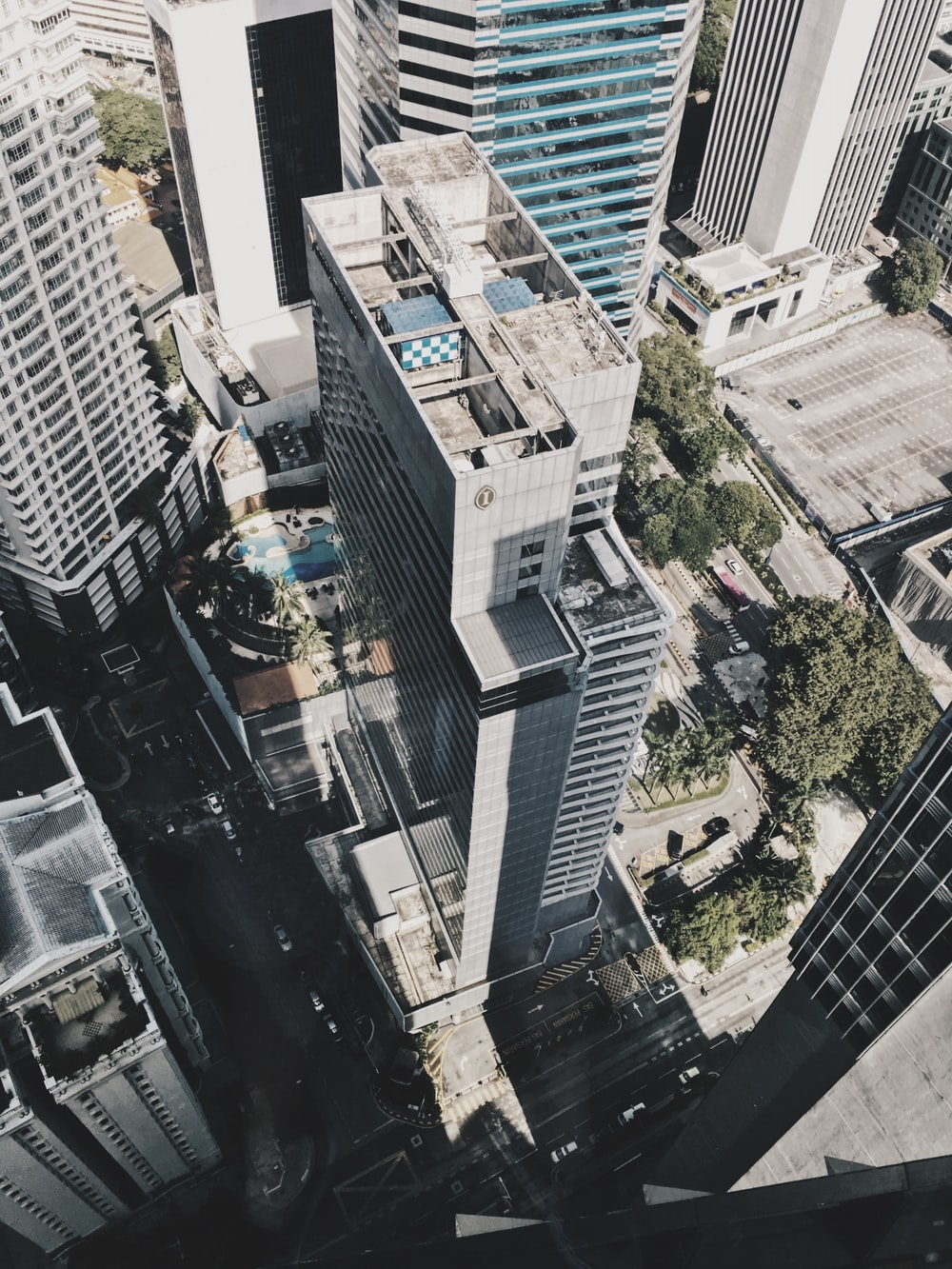 aerial photography of gray building