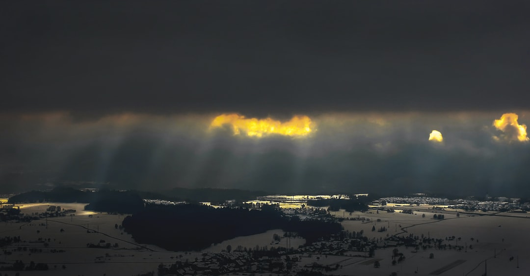 The rays of light break through the clouds. Indescribable moment.