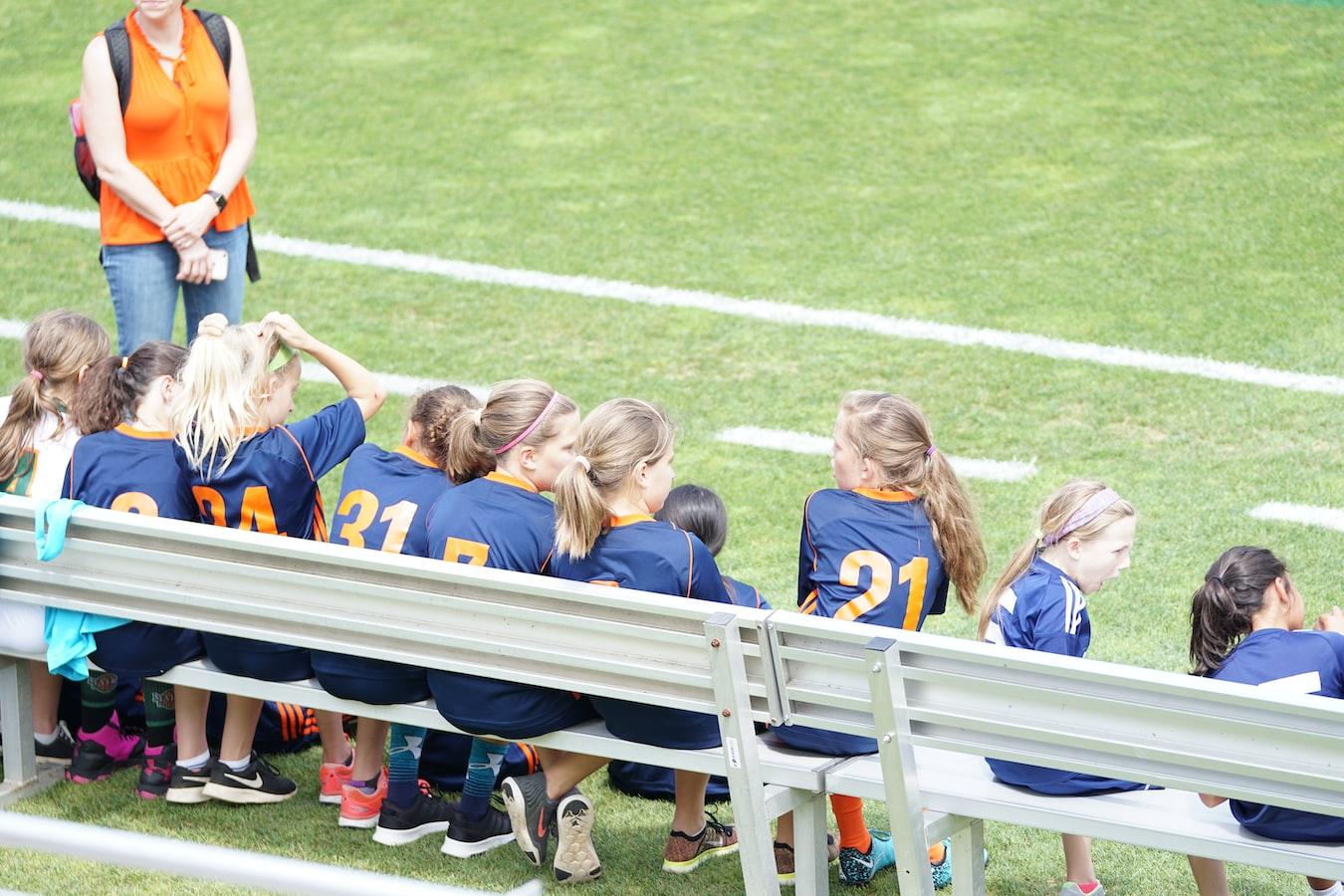 Soccer Team on Sidelines