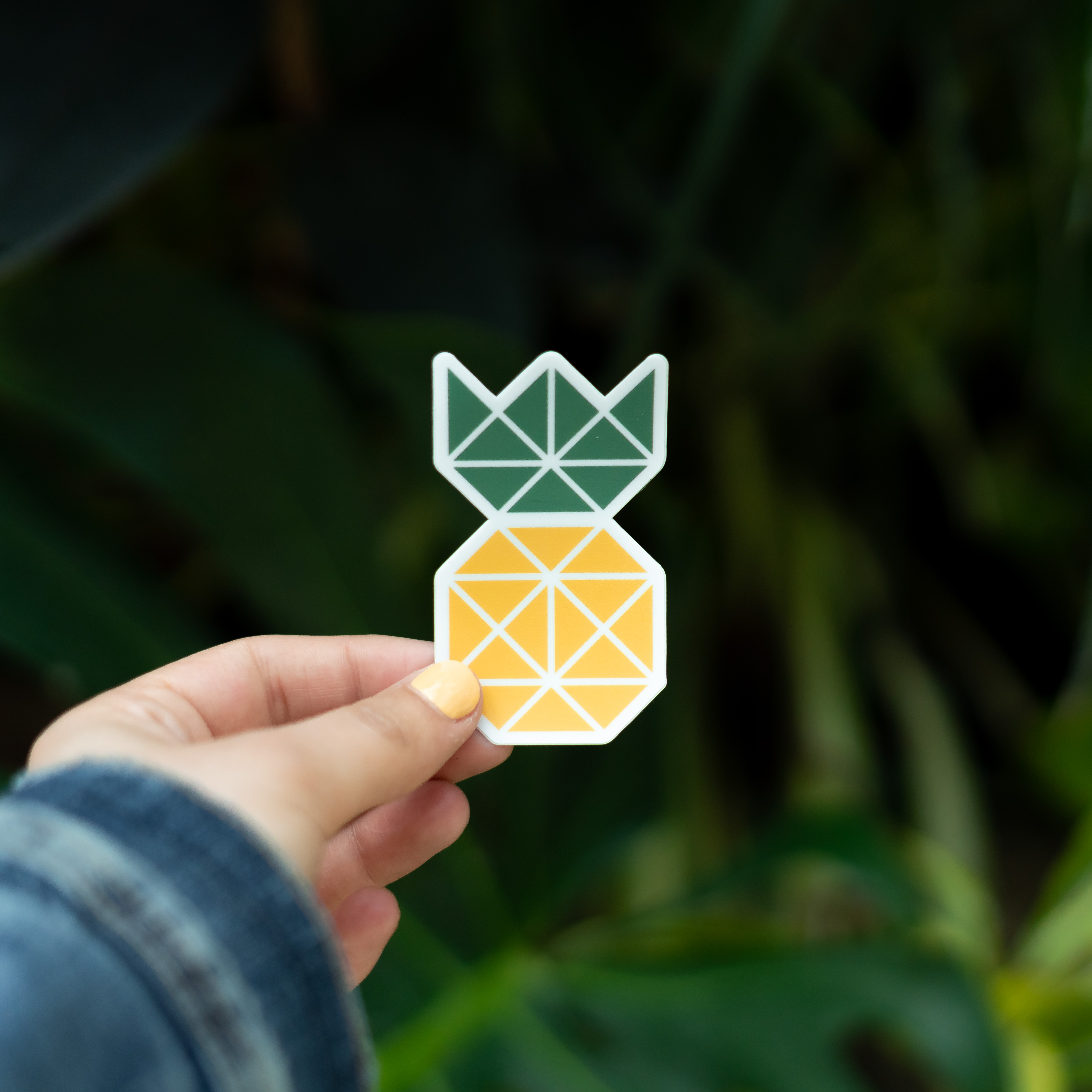 person holding yellow and green pineapple artwork selective photo calligraphy