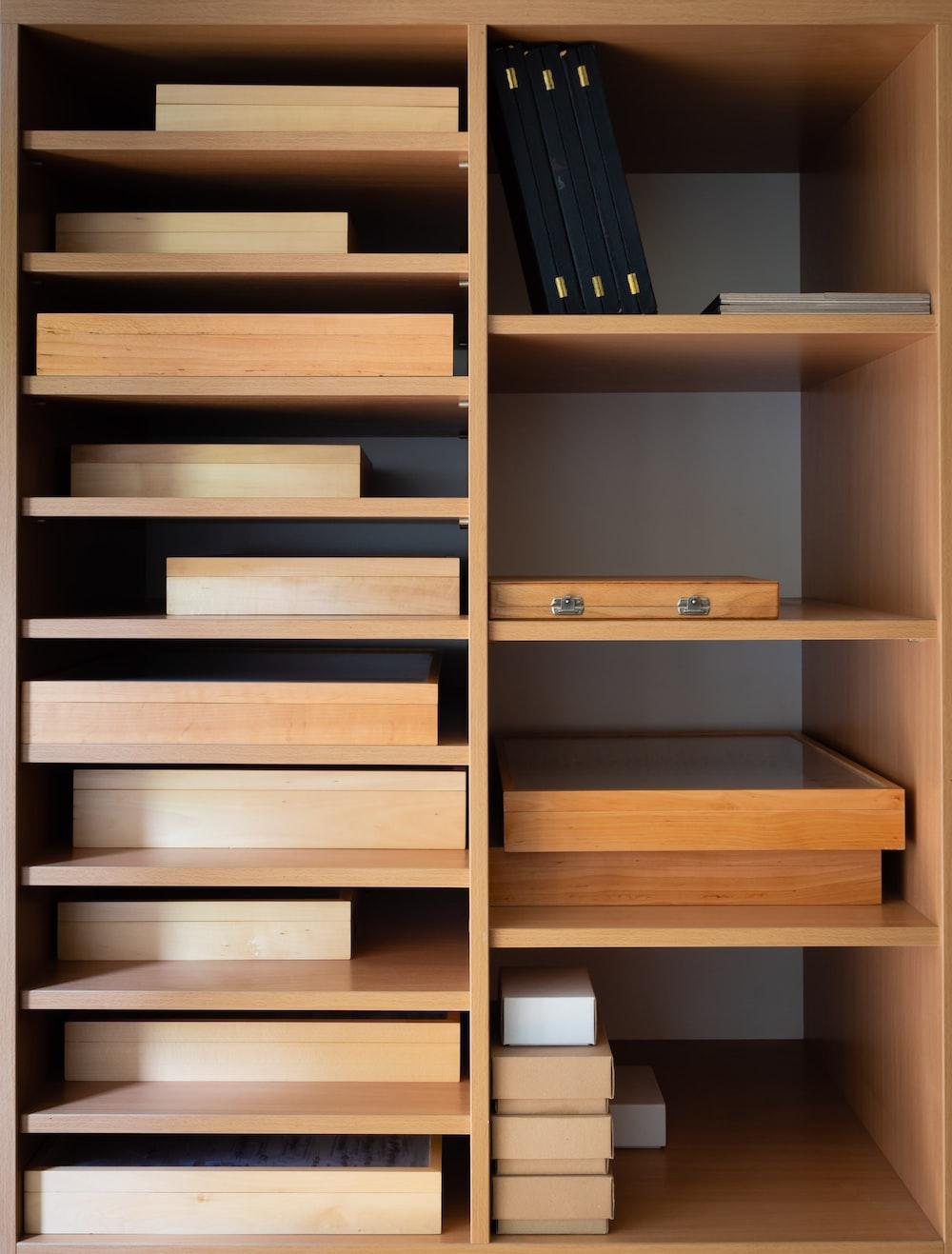 brown wooden shelves