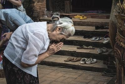 woman praying religion teams background