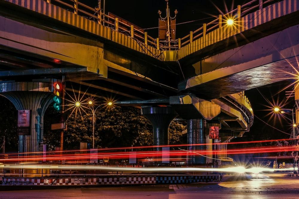 timelapse photo of city street