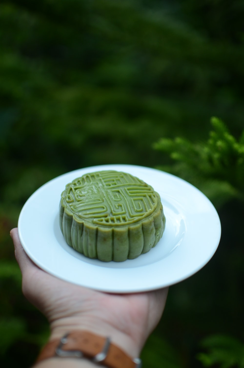 jelly cake on ceramic plate