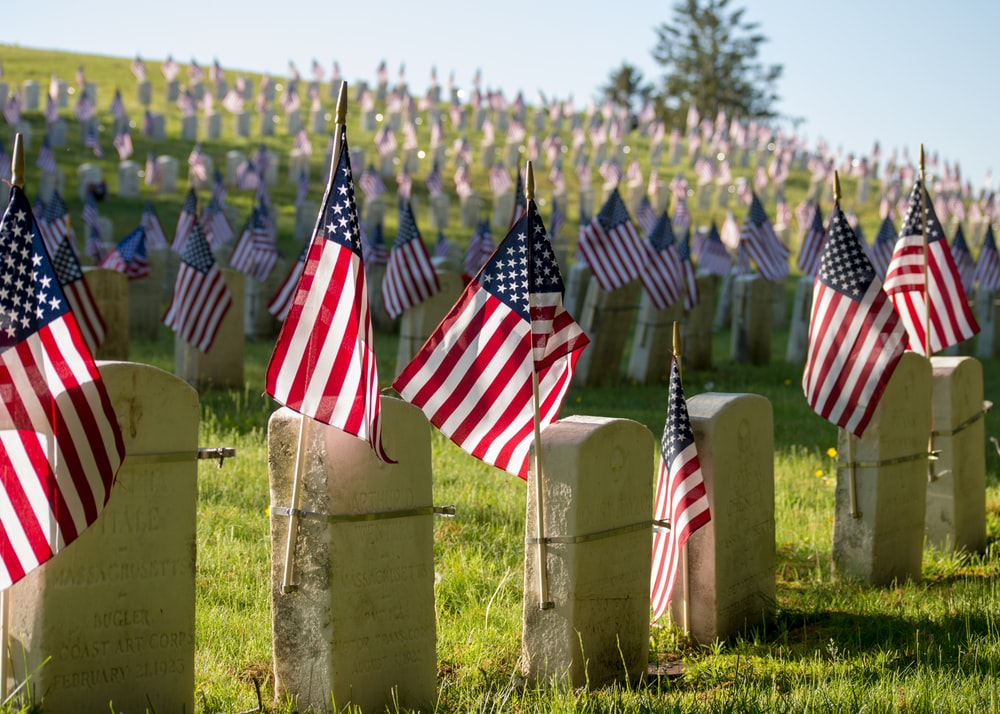 USA flags on tombstones
