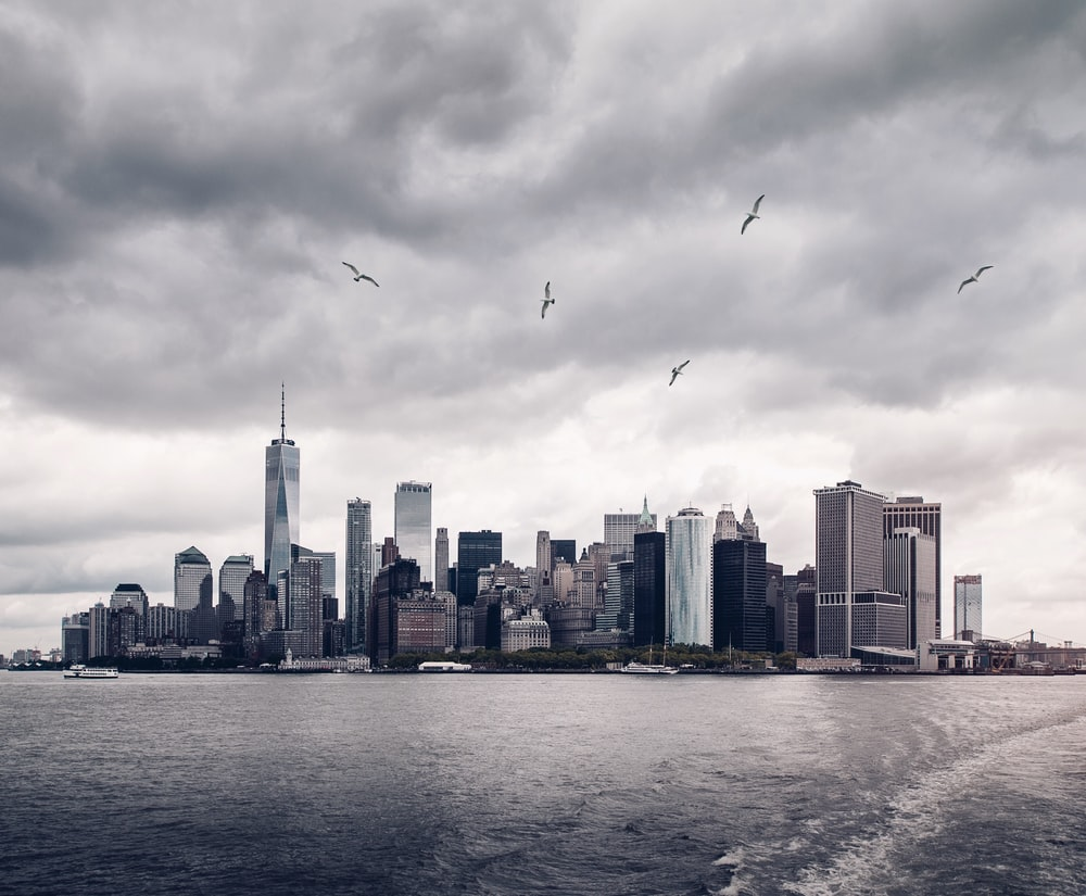 grayscale photo of New York Skyscrapers