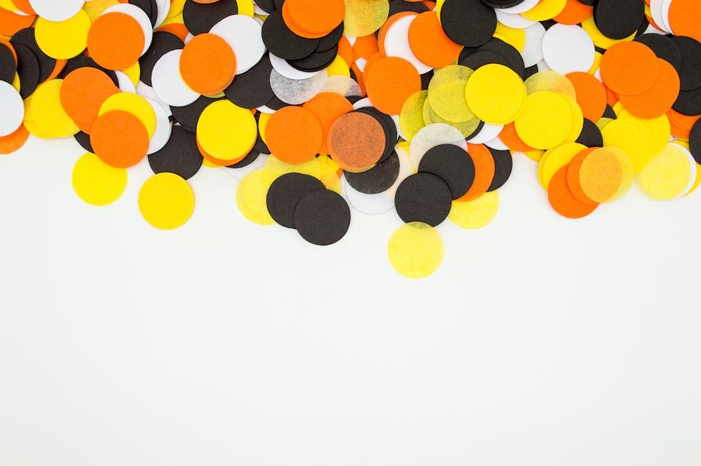 multicolored polka-dot artwork