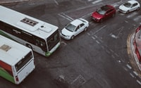 two bus and three cars