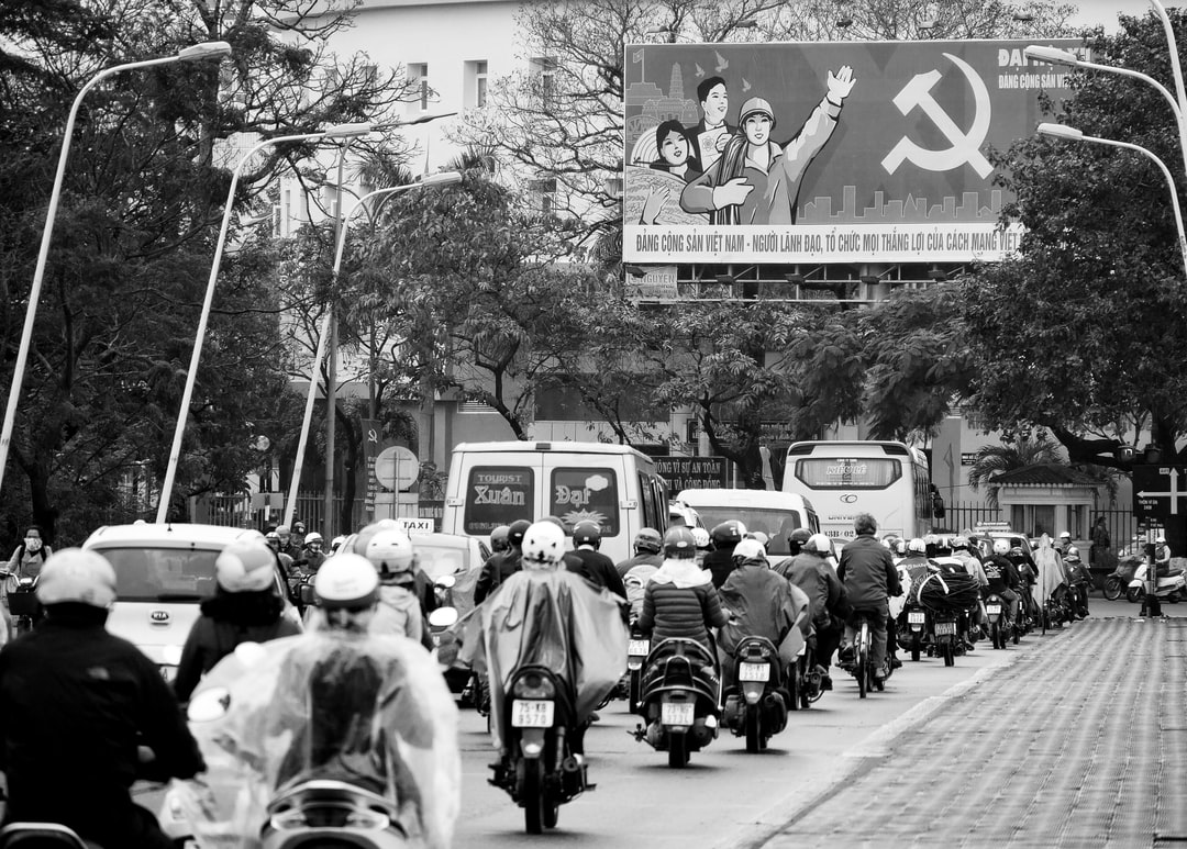 Traffic looking at a typical Vietnamese billboard