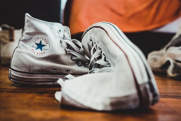 pair of white Converse All-Star high-top sneakers