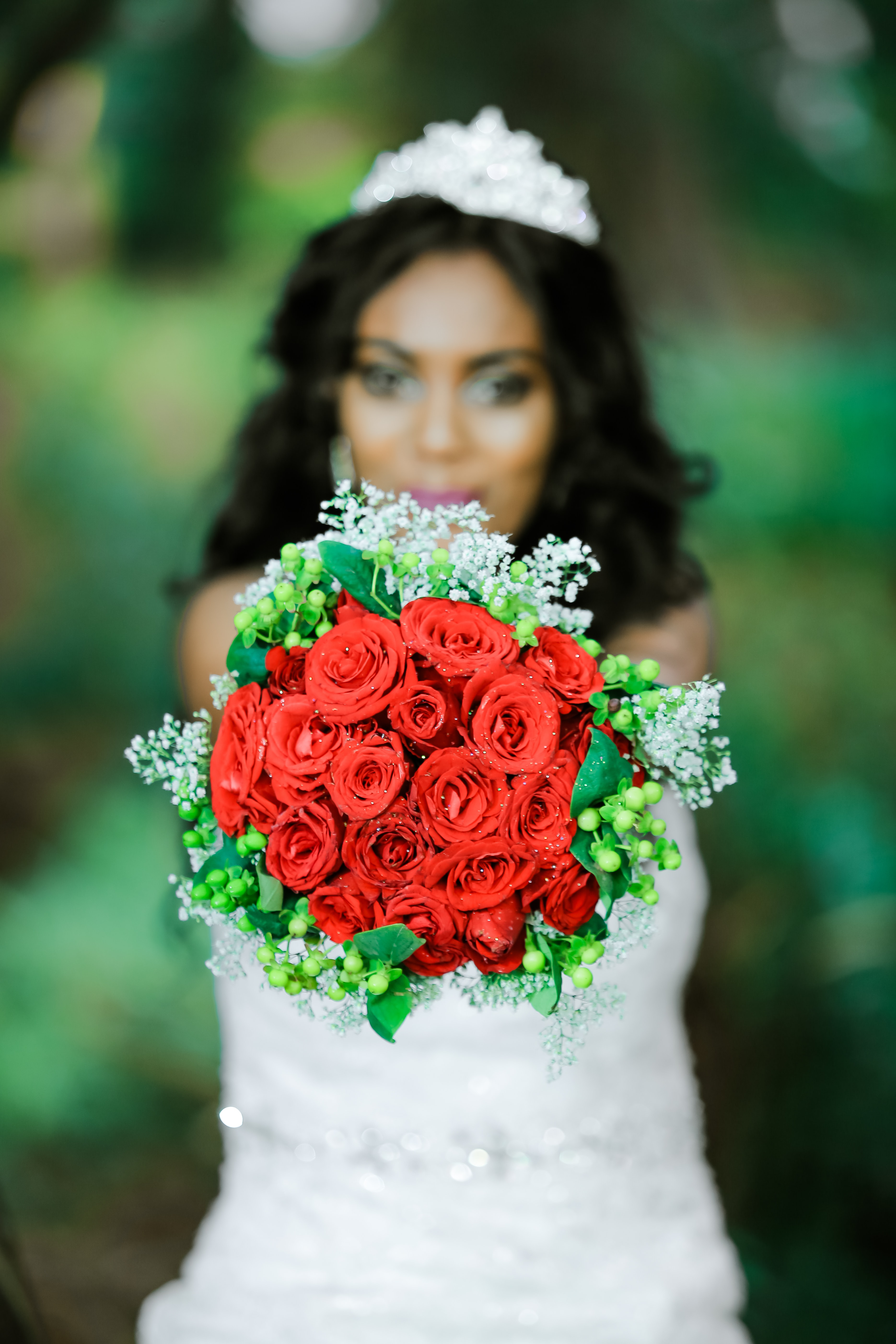 red petaled flower bouquet