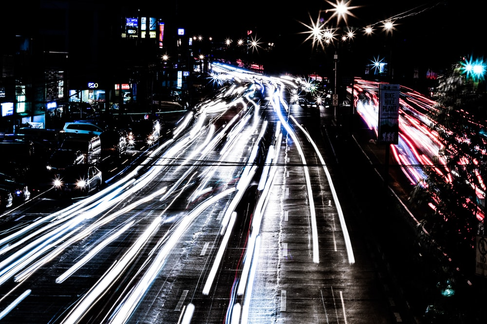 time-lapse photo of road and cars