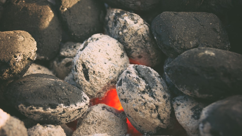fire covered with gray stones