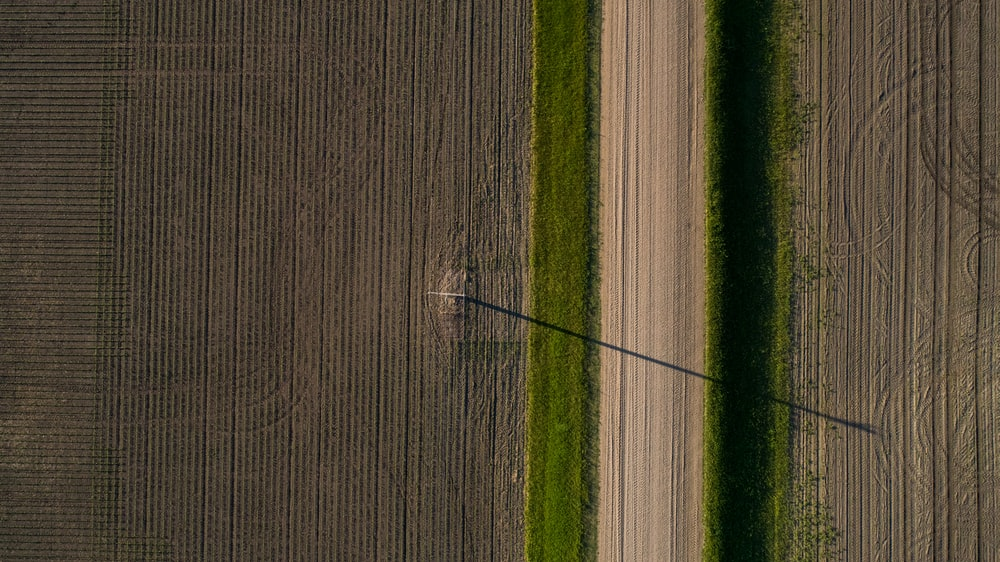 aerial photo of farming field