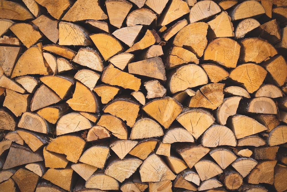 piled firewood lot