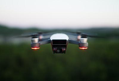 silver quadcopter