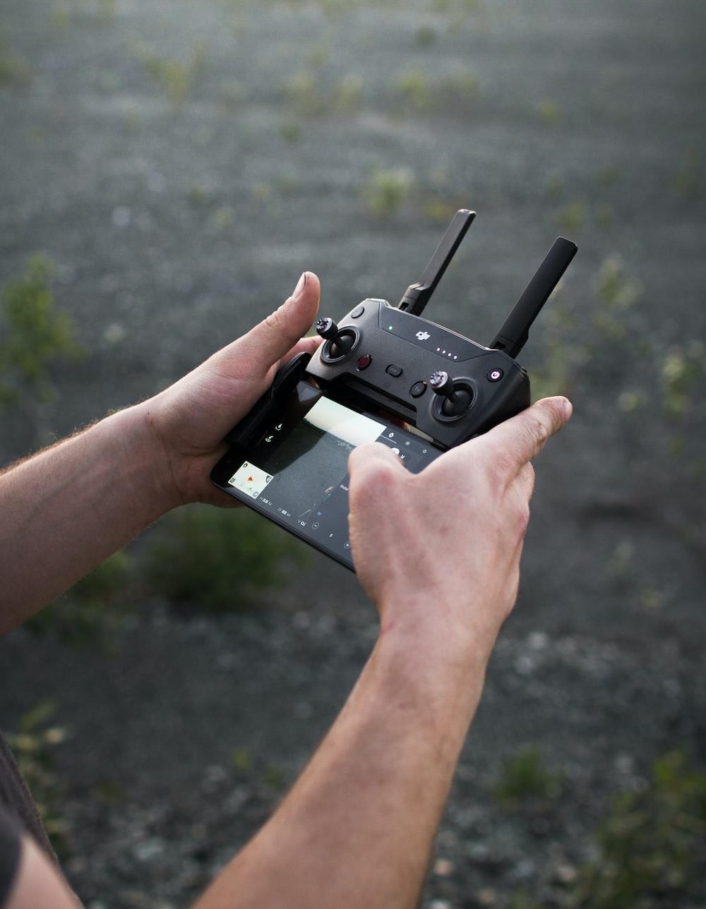 black quadcopter remote