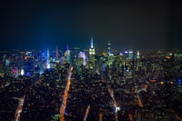 aerial view of buildings during night time