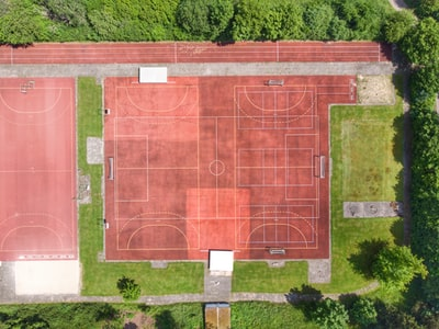 aerial photography of court court teams background