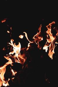 flames in dark room