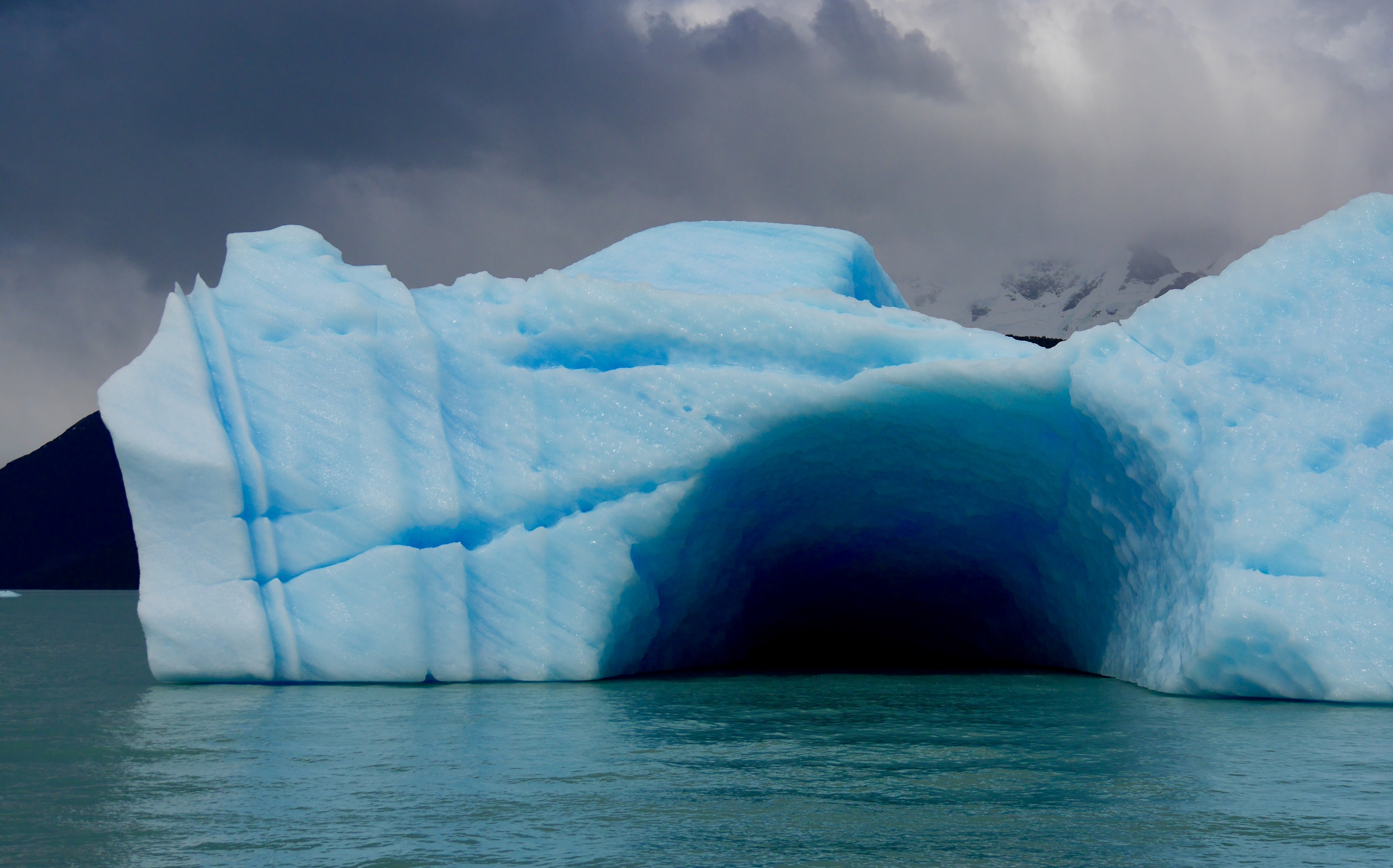 ice cave on top of body of water